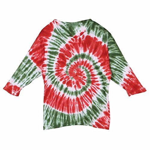 Women's Tunic Top - Green and Red Holiday Tie Dye Long Sleeve Shirt - 2X