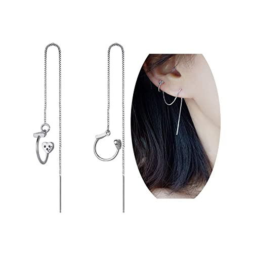 55cb34a6d Image Unavailable. Image not available for. Color: megko 925 Sterling  Silver Cuff Chain Earrings Wrap Tassel Earrings for Women Heart Triangle  Earings