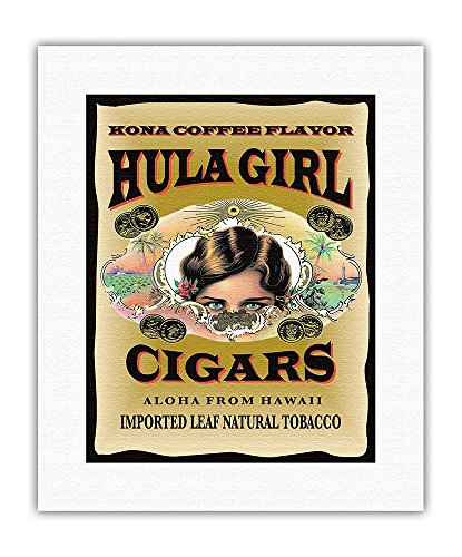 Hula Girl Brand Cigars - Kona Coffee Flavor - Aloha from Hawaii - Vintage Cigar Label by Hula Girl Store - Hawaiian Fine Art Rolled Canvas Print - 11in x 14in