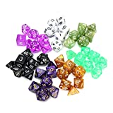 QOJA 126 pcs rpg mtg polyhedral dice 18 sets with pouch bags 18