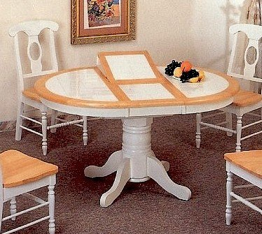 Amazon.com - 42 x 57 Natural and White Oval Tile Top Dining ...