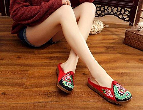 scarpe stile tendine sandali comodi moda unico amp;QING casuali LTQ new infradito red femminile ricamate etnico XHExwYq