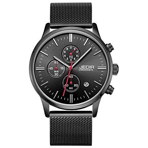 JEDIR Men's Chronograph Watch Analogue Quartz Watch Classic Simple Design Date Calendar and Milanese Mesh Band (Gents Designer Watches)