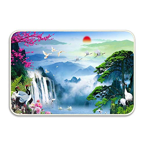 Waterfall and Sakura in The Sunset Novelty Weclome Carpet Non-Slip Floor Rug Mat for Outdoor/Bath/Toilet/Living Room/Dining Room/Playroom, Decorative Doormat Size 24 x16 Inch / 40 X -