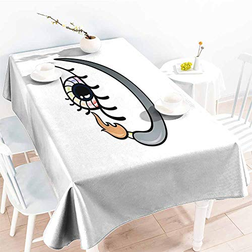 Onefzc Water Resistant Table Cloth,Eyelash Makeup Artistic Design with Colorful Eye and Brush in Cartoon Style Cosmetics Theme,Dinner Picnic Table Cloth Home Decoration,W52x70L Multicolor]()