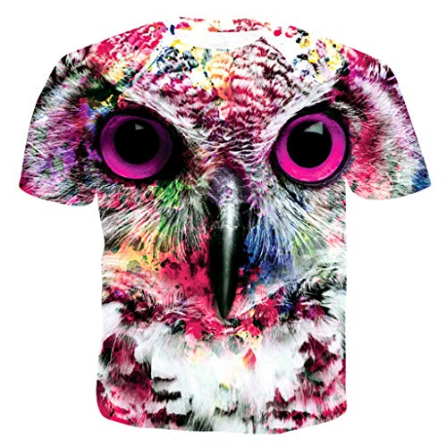 FEDULK Mens Funny Tees 3D Print Summer Casual Short Sleeve O Neck Loose Fit Comfort Blouse Tops T-Shirt(Multi Color, X-Large)
