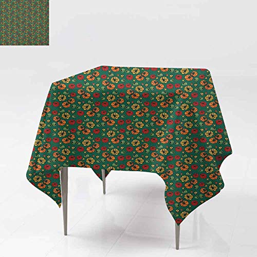 AndyTours Spill-Proof Table Cover,Garden Art,Organic Fresh Eating Healthy Living Theme Ornamental Tomatoes Vegetarian Diet,Party Decorations Table Cover Cloth,50x50 Inch Multicolor