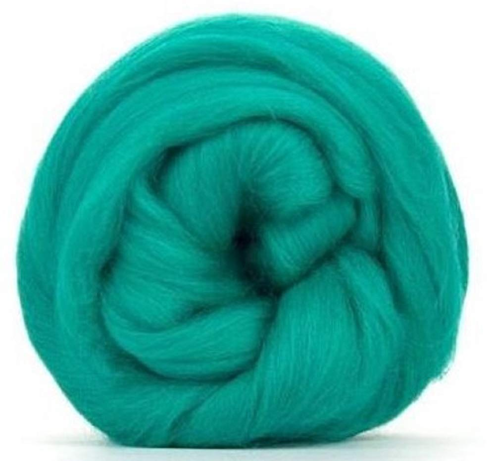 4 oz Paradise Fibers 64 Count Dyed Jade (Green) Merino Top Spinning Fiber Luxuriously Soft Wool Top Roving for Spinning with Spindle or Wheel, Felting, Blending and Weaving