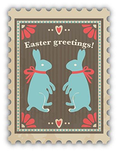 Bunny Postage - Zirni Easter Greetings Bunny Postage Vintage Stamp Sticker Decal Design 4