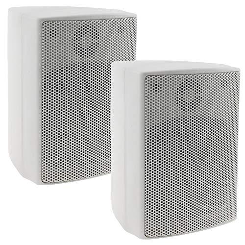 ChiliTec 2-weg luidspreker wit, paar, wandluidspreker voor HiFi stereo-installatie thuisbioscoop, 40Watt 8Ohm