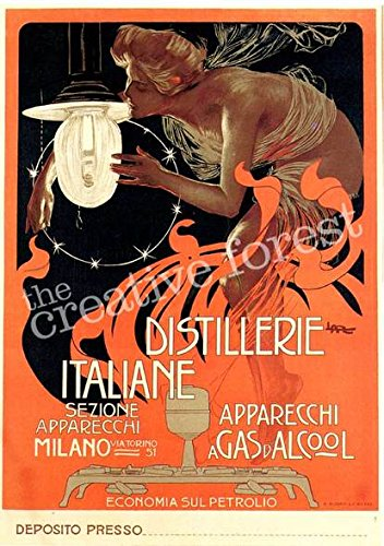 Distillerie Italiane, 1890 Vintage Advertising Poster Reproduction Rolled Canvas Print 24x33 in.