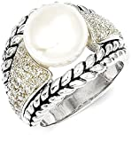 ICE CARATS 925 Sterling Silver Freshwater Cultured Pearl Diamond Band Ring Size 7.00 Fine Jewelry Gift Set For Women Heart