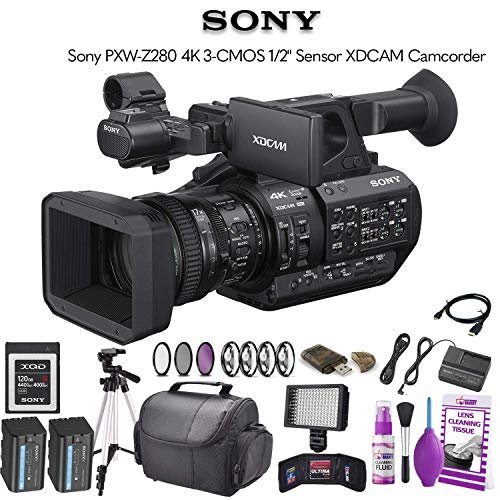 """Price comparison product image Sony PXW-Z280 4K 3-CMOS 1 / 2"""" Sensor XDCAM Camcorder (PXW-Z280) W / 120GB Memory Card,  Extra Battery,  Bag,  Tripod,  Led Light and More"""