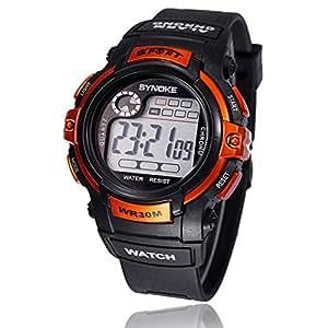 MESFOOD reloj deportivo, Fashion función de alarma LED Digital cuarzo deportes al aire libre reloj de pulsera resistente al agua, naranja