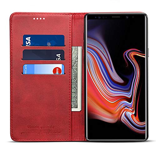 Samsung Note 9 Smart Leather Wallet Kickstand Flip Cover with Phone Card Holder Case, Red