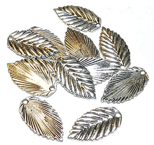 Antiqued Silver 22mm Birch Leaf Charm Drop Jewelry Component 12pc #ID-394