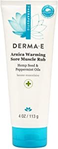 Derma E Arnica Warming Sore Muscle Rub, Cooling and Soothing Cream with Peppermint Oil, Hemp Seed Oil, Arinca