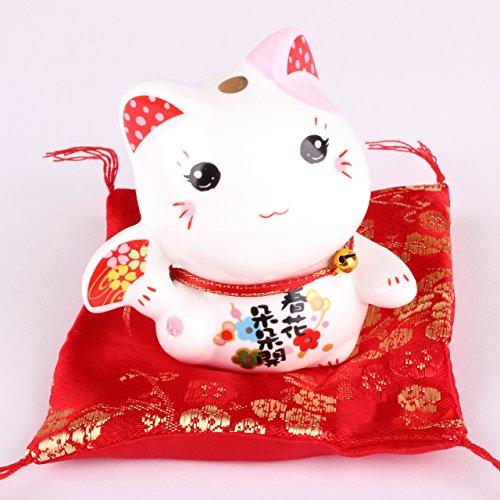 Maneki Neko Figur - kleine japanische Glückskatze mit Kissen - Winkekatze aus Porzellan - Feng Shui Glücksbringer und Spardose