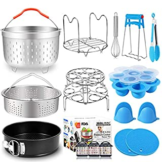 17 Pcs Instant Pot Accessories 6,8 Qt Pressure Cooker Accessories Steamer Basket, Springform Pan, Silicone Egg Bites Molds, Egg Steamer Rack