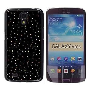 Patrón Estrellas Dots Negro Tela Limpio- Metal de aluminio y de plástico duro Caja del teléfono - Negro - Samsung Galaxy Mega 6.3