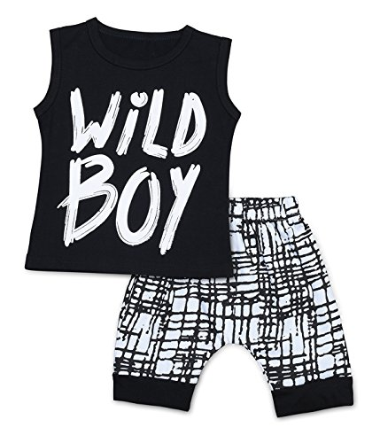 Baby Boys Clothes Set Short Sleeve Wild Boy T-Shirt Pants Outfit Summer Spring (12-18 Months, Black 1)