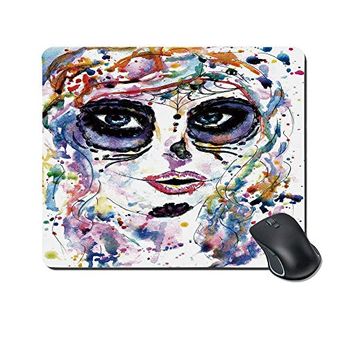 Sugar Skull Decor Durable Mouse Pad,Halloween Girl with Sugar Skull Makeup Watercolor Painting Style Creepy Decorative for Office Home,9.4