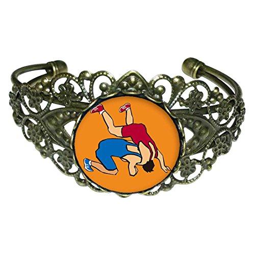 GiftJewelryShop Bronze Retro Style Olympics Wrestling posture Flower Cuff Bangle Bracelet Fashion Jewelry by GiftJewelryShop