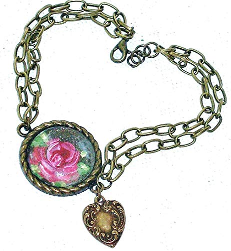 (Romantic Vintage Style Antiqued Gold Plated Victorian Painted Rose Pendant Dangling Heart Charm Bracelet)