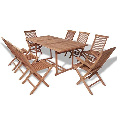 Daonanba Classic Wooden Garden Dining Set Outdoor Furniture Set Folding Chairs Stable Table Set Teak 9 (Teak Dining Table Chairs)