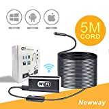 5M Flexible Wifi Inspection Camera Endoscope,Waterproof Semi-rigid HD 1080P Adjustable 8 Leds Snake Spy Camera Borescope for iphone 6 7 Galaxy S7 S8 Andriod ios Tablet Win 7 8 10(16.4FT)by Newway