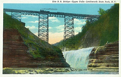(Letchworth State Park, New York - View of Erie Railroad Train on Bridge by Upper Falls (12x18 SIGNED Print Master Art Print w/Certificate of Authenticity - Wall Decor Travel Poster))