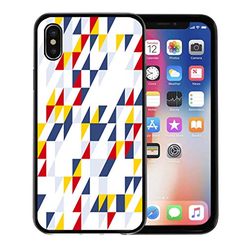 Semtomn Phone Case for Apple iPhone Xs case,Blue Pattern Diagonal Shtandart Yellow Chevron Geometric Abstract BBQ for iPhone X Case,Rubber Border Protective Case,Black