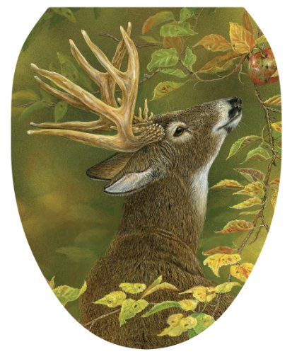 Toilet Tattoos, Toilet Seat Cover Decal, Lucky Find Deer, Size Elongated (Deer Toilet Tattoo)
