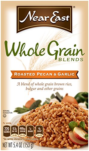 Near East Whole Grain Blends, Roasted Pecan & Garlic, with Brown Rice and Bulgur (Pack of 12 Boxes) (Oil Pecan Roasted)