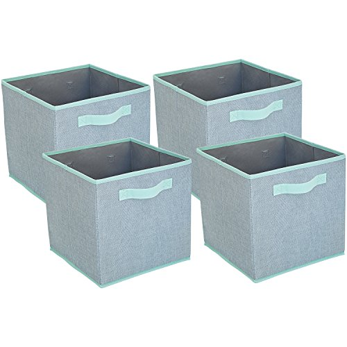 Premium Storage Cube - Linen Fabric Basket Bins - Organize Your Closet, Bedroom & Nursery ( Set of 4)