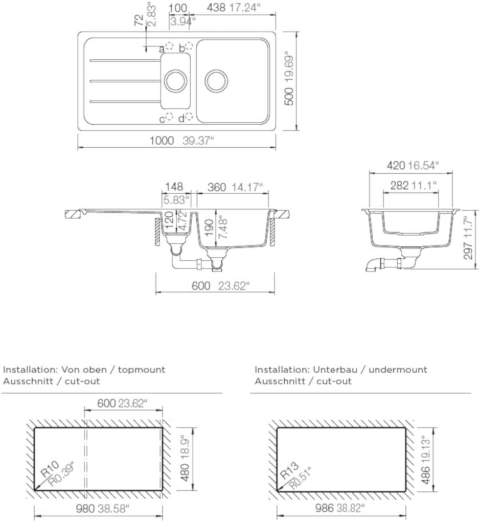 Cristal /Évier de cuisine Schock D-150L Croma Avec 1 /½ bac /à partir de 60 cm de largeur 100 x 50 cm