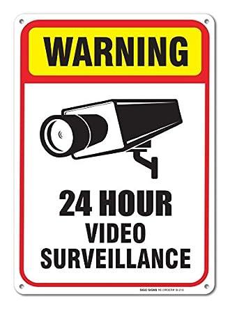 24 Hour Video Surveillance Sign 7 x 10 .40 Aluminum sign: Amazon ...