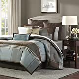 Madison Park Lincoln Square 8 Piece Comforter Set, King, Blue/Brown