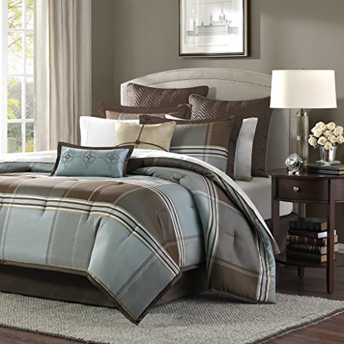 Square Comforter Set - Madison Park Lincoln Square Queen Size Bed Comforter Set Bed In A Bag - Brown, Teal, Plaid – 8 Pieces Bedding Sets – Jacquard Faux Silk Bedroom Comforters