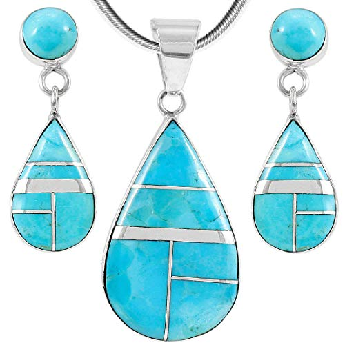 (Matching Set Turquoise & Gemstones 925 Sterling Silver (Pendant, Earrings, Necklace 20
