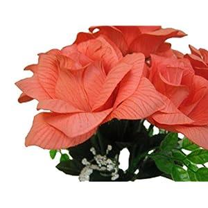 "2 Bushes Open Rose Artificial Silk Flowers 15"" Bouquet 7-039 Coral 8"