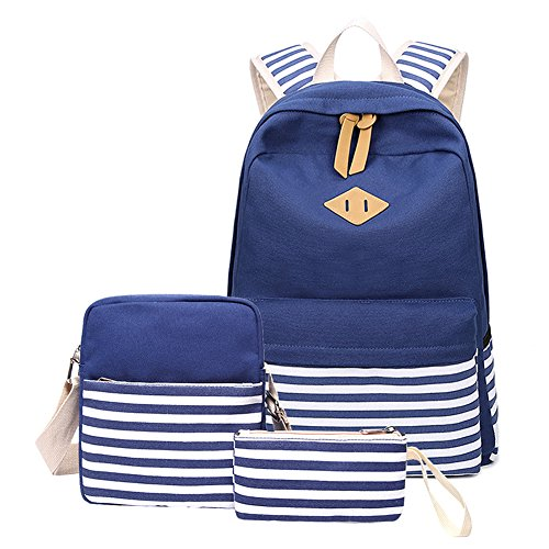 Abshoo Causal Canvas Stripe Backpack Cute Lightweight Teen Backpacks For Girls  School Bag Set (Navy Set) - Buy Online in Oman.   abshoo Products in Oman  ... bc29c0842a