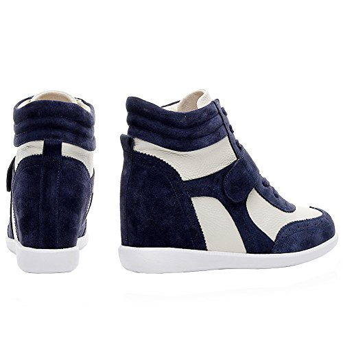 Fabric Fashion amp;Suede amp;Loop Wedge Leather amp;beige rismart Casual Hook Sneakers Women's Navy xUB8HX