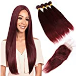 Human Hair Specification:  1) Hair Material: Top quality Peruvian virgin Human Hair 2) Hair Color: Pure Color 99J#Wine Red color 3) Hair Texture: Silky straight Hair Bundles 4)Hair Weight: 100g±2g/pc,3pcs/ Lot, 300Gram in total for full head 5)Hai...