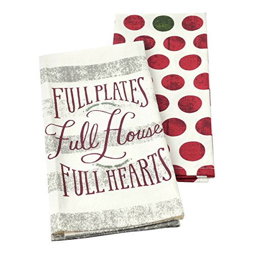 Hallmark Home Decorative Cotton Kitchen Tea Towels (Set of 2) Holiday Red