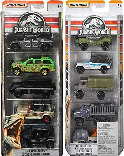 Jurassic Convoy All Terrain Fleet Jurassic Dinosaurs Cars Trucks & Land Rescue Collection Matchbox Die-Cast Series Jeep Wrangler / Haulers - Trucks & Transporters 10 Vehicles Ford Explorer Hummer