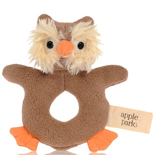 Apple Park Picnic Pal Teething Rattle, Owl (Rattle Pal)