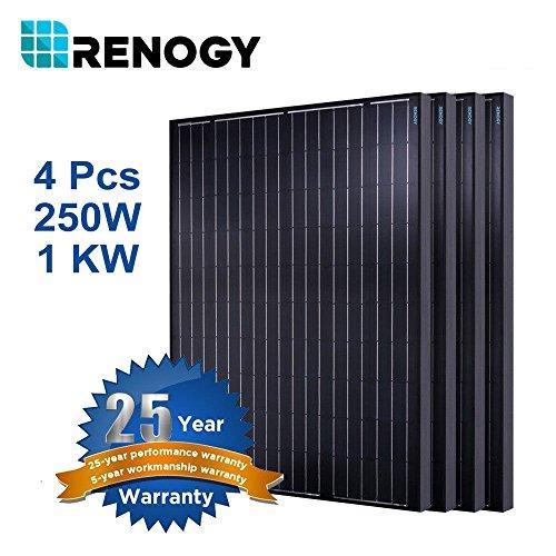 Renogy (4) 250W Watt 1000W Monocrystalline Solar Panel for Off/On Grid System