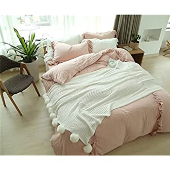 Dokot cotton knitted throw blanket sofa bedding couch cover with pom poms