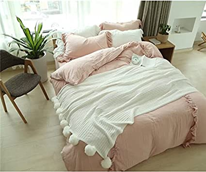 Great DOKOT Cotton Knitted Throw Blanket, Sofa/Bedding/Couch Cover With Pom Poms (